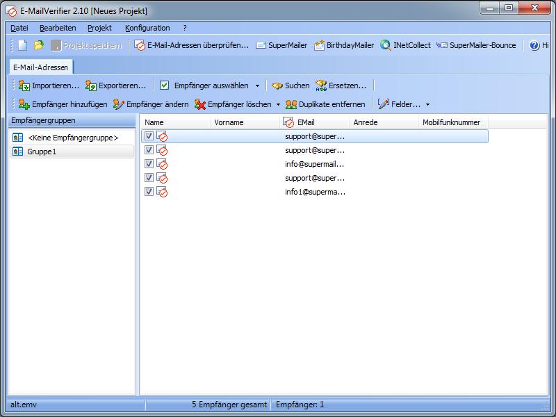 Screenshot vom Programm: E-MailVerifier